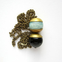 NEW - Amazonite and onix beads and brass necklace