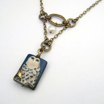 White owl necklace, ceramic bead, freshwater pearl, blue brass chain 20 inches 51cm
