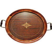 Nice Old Wooden Serving Tray with Glass Cover ~ Inlaid Design and Handles ~ 011650 ~ Royal Rochester Early 1900's
