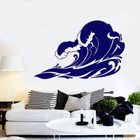 Vinyl Wall Decal Great Waves Sea Ocean Marine Style Tsunami Stickers Unique Gift (1389ig)