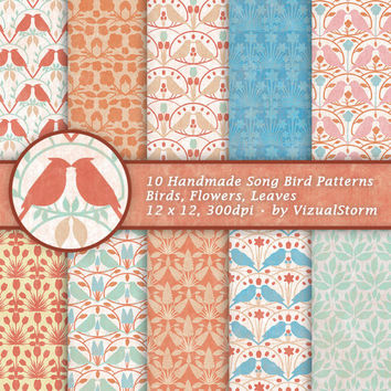Song Bird Scrapbooking Paper Digital Birds Background Patterns Flower Leaf Paper Spring Summer Animal Papers Printable Birds Orange Blue