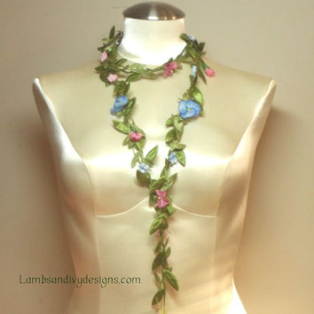 Long Necklace Lariat  Ribbonwork Flower Necklace Garland
