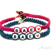 Set of Two Bae Bracelets for Couples or Best Friends, Dark Teal and Pink Hemp Jewelry, Made to Order