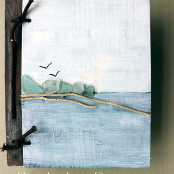 Photo Album , Unique Beach Scrapbook , Hand Painted Ocean with Driftwood & Sea Glass Art , Coastal Wedding