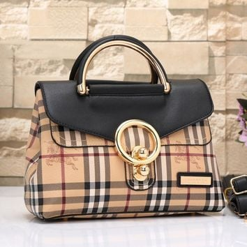 Burberry Women Fashion Leather Satchel Tote Shoulder Bag Handbag-4