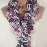 Hand knitted Gray,Pink,Burgundy Ruffled Scarf by Arzu's Style