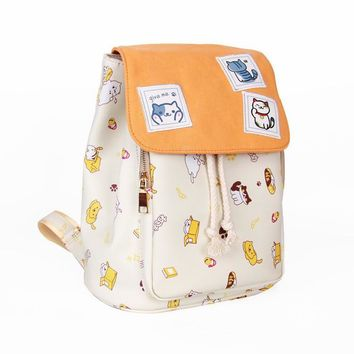 Neko Atsume Cartoon casual cute cos Cat printing Shoulders Backpacks College schoolbags