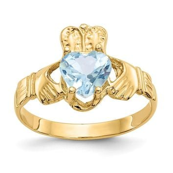 14K Yellow Gold March Birthstone Claddagh Ring