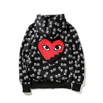 Comme Des Garcons Play Fashion Women Men Letter Print Zipper Hoodies Couple Hats Jacket Coat I