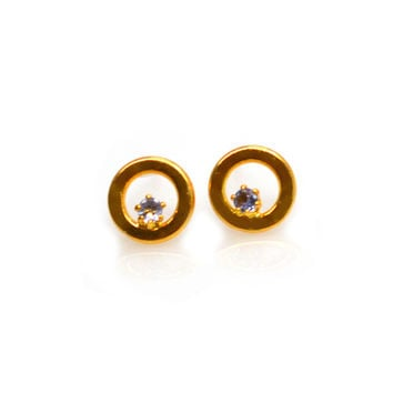 Tiny Circular Studs with Sapphires