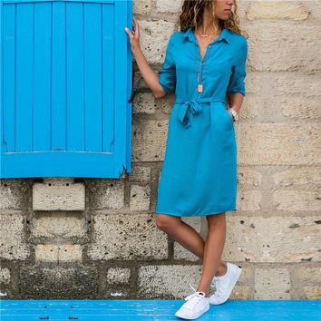 Women Dress Autumn 2019 New Arrive Turn Down Collar Solid Color Button Shirt Dress Long Sleeve Casual Dress Tunic Vestidos Mujer