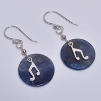 "1.5"",925 Sterling Silver Genuine Natural Blue Sapphire Coin Dangles Music Note Minimalist Vintage Hook Earrings, Woman Jewelry, Gift for HER"