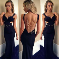 Sexy V-Neck Backless Bodycon Maxi Dress