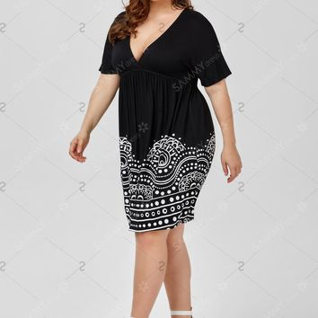 Low Cut Empire Waist Plus Size Dress