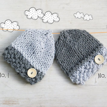 Gray Newborn Boy Knit Hat / Newborn Photo Props / Baby boy Hat / Wood Button Hat