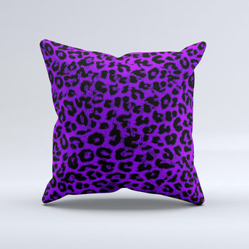 Vibrant Violet Leopard Print ink-Fuzed Decorative Throw Pillow