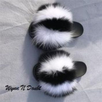 Skunk Fur Slippers