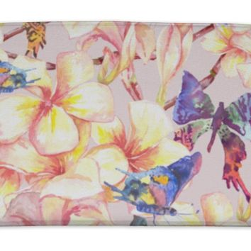 Bath Mat, Tropical Pattern With Exotic Flowers