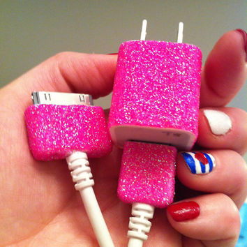 Pink iPhone Charger (customized glitter charger)