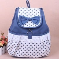 Bowknot Lace Canvas Backpack