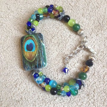 Peacock feather, triple strand beaded bracelet, FREE SHIPPING, glass, crystal, cats eye beads, metal beads