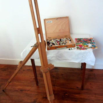 Vintage French Artist Easel And Paint Box