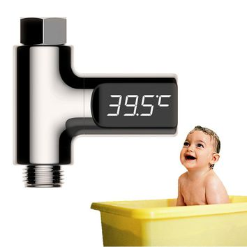 LED Display Home Water Shower Thermometer Digital Flow Water Temperture Monitor Battery Free Baby Care Washing Faucet Extender