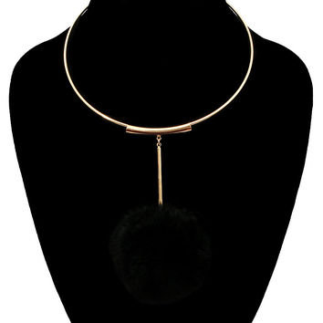 GOLD CUFF CHOKER Black POM POM Statement Necklace & Earrings SET Metal Chain