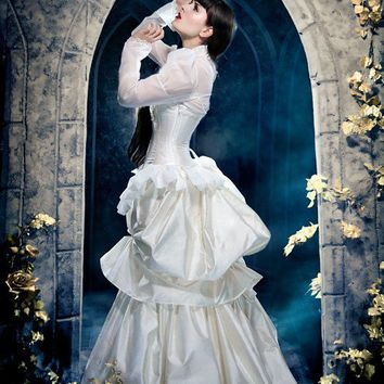 Steampunk Wedding Gown Elegant in Ivory and Gold by KMKDesignsllc