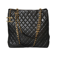 Chanel Black Tote Bag with Quilted Details