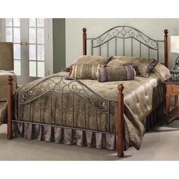 Hillsdale Martino Metal Poster Bed in Smoke Silver & Cherry