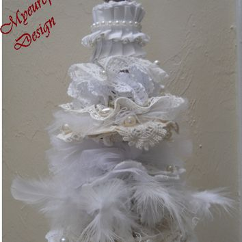 Shabby Chic Table Christmas Tree, white, Ivory, cream lace doily table Christmas Tree