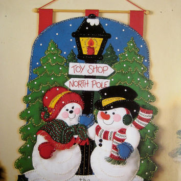 Plaid Bucilla Christmas Felt Kit Mr. & Mrs. Snowman Door Hanging Wall Decoration Holiday Decor Maria Stanziani Design