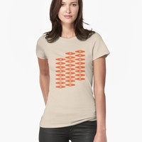 """abstract eyes pattern in orange and tan "" Women's Premium T-Shirt by VrijFormaat 