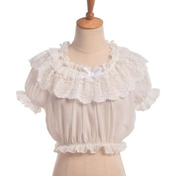 Women Lolita Frilly Chiffon Crop Top Blouse White/Black Puff Sleeve Lace Bottoming Shirt