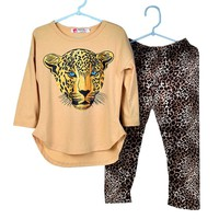 Girls Clothes Baby Girl Set Girl's Leopard Long Sleeve T Shirts Leggings Clothes Kids Clothes Girls Sports Suit Children Clothes