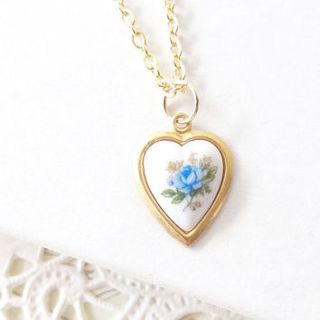 Vintage Blue Rose Limoges Heart Necklace - Heart Shaped Necklace - Vintage Flower Cameo - Valentines Day Gift