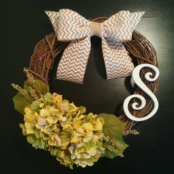 Grapevine Wreath, Fall Wreath, Monogram Wreath with Hydrangea, White Inital and a Chevron Burlal Bow