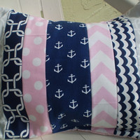 Pink,navy and grey pillow cover,Baby girl pillow,Throw pillow cover,Nursery pillow cover,girl room nautical,chevron,anchors,12 by 16inches
