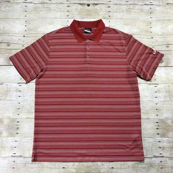 Nike Golf Striped Red Polo Shirt Mens Size XL