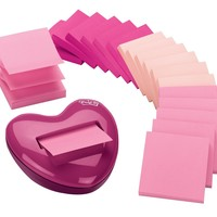 Post-it Pop-up Notes Value Pack, with Heart Shaped Dispenser, 3 x 3-Inches, Assorted Pink Colors, 18-Pads/Pack:Amazon:Office Products