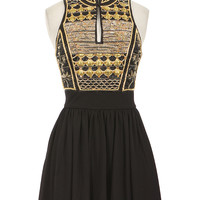 BALMAIN BLACK AND GOLD-TONE SLEEVELESS PLEATED DRESS