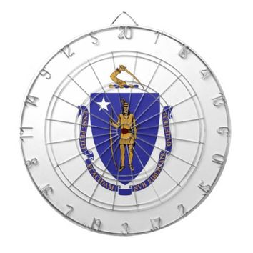 Dartboard with Flag of Massachusetts, USA