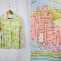 RESERVED.....70s Novelty Shirt . Dreamy Pink Castle Fairy Tale Longsleeve Blouse. Large