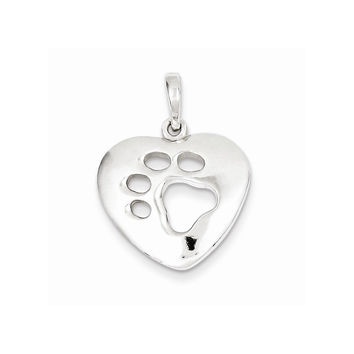 Sterling Silver Polished Heart with Paw Print Pendant
