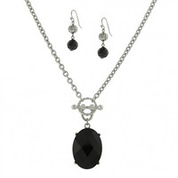 Silver-Tone Black Crystal Earrings & Necklace Boxed Set