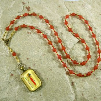 Mafdet Prayer Bead Necklace in Carnelian: Egyptian Goddess of Law and Justice, Protector against Poison