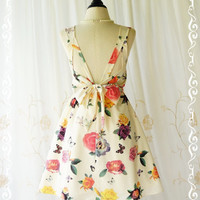 A Party V Shape Cottage Roses Print Creamy Backless Dress Floral Prom Party Dress Spring Summer Sundress Floral Bridesmaid Dresses XS-XL