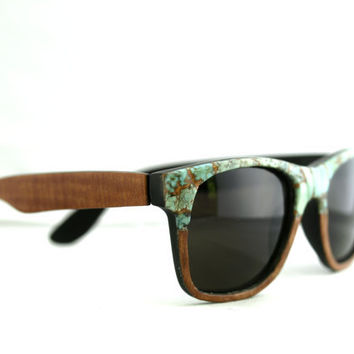 Sid's Turquoise Faced Sunglasses Wayfarer // Sapele Wood and Turquoise Spring Eyewear