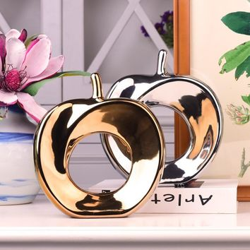 Abstract Arts Ceramic Electroplate Apple Handicraft Geometric Creative Gold Silver Apple Ornament Home Decor Wedding Decoration